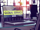 Global Service Concept on Laptop Screen.