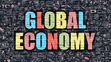 Global Economy Concept with Doodle Design Icons.