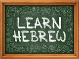 Learn Hebrew - Hand Drawn on Green Chalkboard.