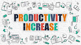 Productivity Increase Concept with Doodle Design Icons.