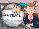 Contracts through Magnifying Glass. Doodle Design.