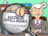 Business Intelligence through Lens. Doodle Concept.