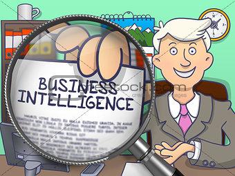 Business Intelligence through Lens. Doodle Concept.