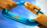 Law on Blue Carabiner between Orange Ropes.