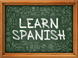Learn Spanish - Hand Drawn on Green Chalkboard.