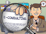 E-Consulting through Magnifier. Doodle Design.