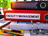 Red Office Folder with Inscription Facility Management.
