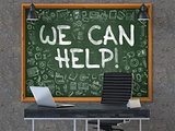 We Can Help - Hand Drawn on Green Chalkboard.