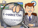 E-Marketing through Lens. Doodle Concept.