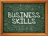 Business Skills - Hand Drawn on Green Chalkboard.