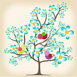 Spring tree with birds background