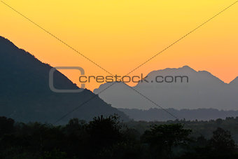 Beautiful sunset sky over the mountains
