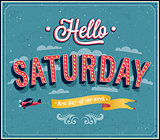 Hello Saturday typographic design.