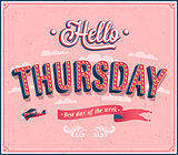 Hello Thursday typographic design.