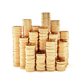 Stacks of golden coins isolated