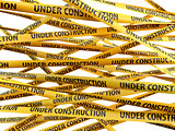 Under construction yellow ribbons