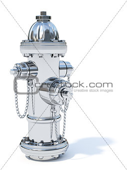 Chrome fire hydrant isolated on white background