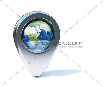 Chrome navigation marker with Earth planet in the center