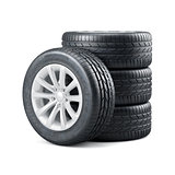 New unused car tires with rims isolated