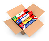 3d box with language books