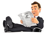 3d businessman reading newspaper with feet on desk