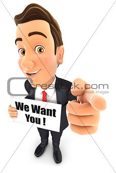 3d businessman with we want you message