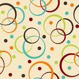Retro background with circle and dots