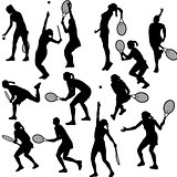 Silhouettes of the women who play tennis