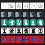 vector chess icons set