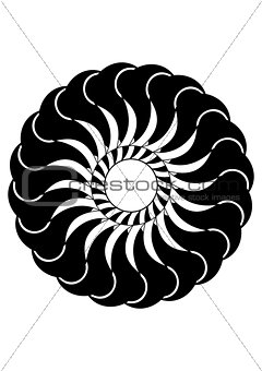 Circular black and white abstract design with curved objects