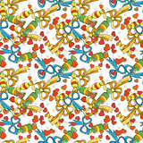 Seamless colorful pattern with bows and hearts.