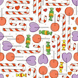 Vector Candy and Lollipop Seamless Pattern