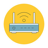 Wifi router outline icon flat