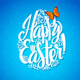 Greeting card for the day of Happy Easter. White Calligraphy letters on a blue background with butterfly. Egg shape