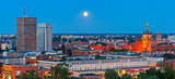 Aerial panorama of Gdansk at night, Poland