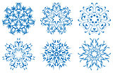 snowflake blue flower on a white background. set