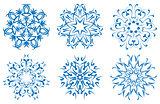 snowflake blue flower on a white background. set
