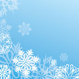 vector christmas background with snowflakes on blue