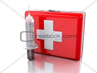 3D first aid kit and syringe