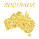 Map of  Australia in golden. With gold yellow particles and dots. Glitter background.
