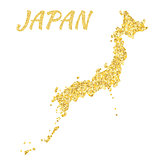 Map of Japan in golden. With gold yellow particles and dots. Glitter background.
