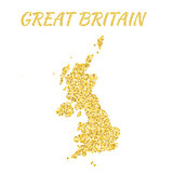 Map of Great Britain in golden. With gold yellow particles and dots. Glitter background.