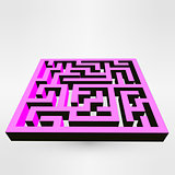 Maze labyrinth puzzle white on grey background. 3D Vector.