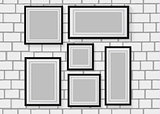 Vector seamless background image of wood photo frames on the white brick wall