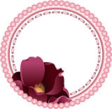 Vintage round frame with flower