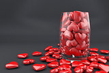 Red hearts in glass
