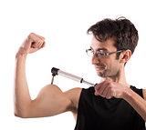 Ironic muscular man