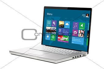 modern laptop on white