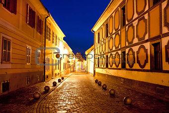City of Varazdin historic street evening
