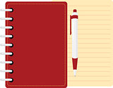red diary  personal organizer with pen and sheet of paper